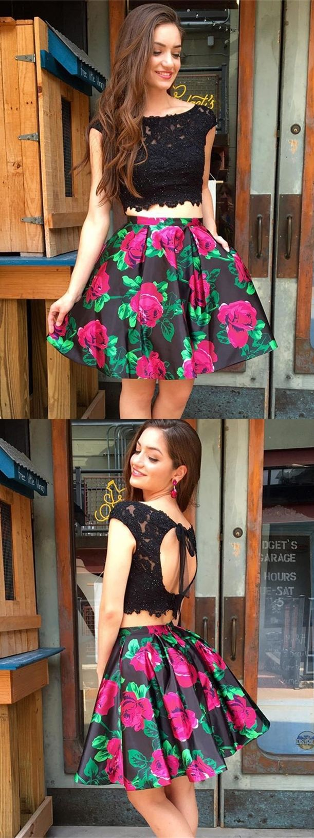 Two piece bateau open back floral prom homecoming dress with pockets