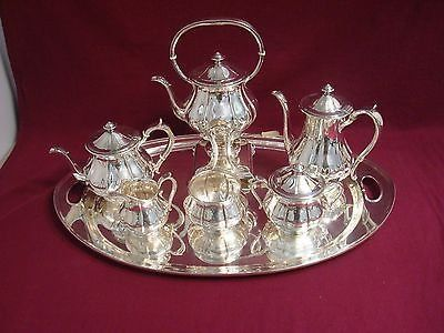 ARTHUR STONE STERLING SILVER TEA SET TILTING KETTLE ON CRADLE WITH TRAY 7 PIECES