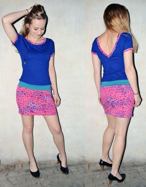 Kleid blau pink Kreise Muster von Jaqueen auf DaWanda.com