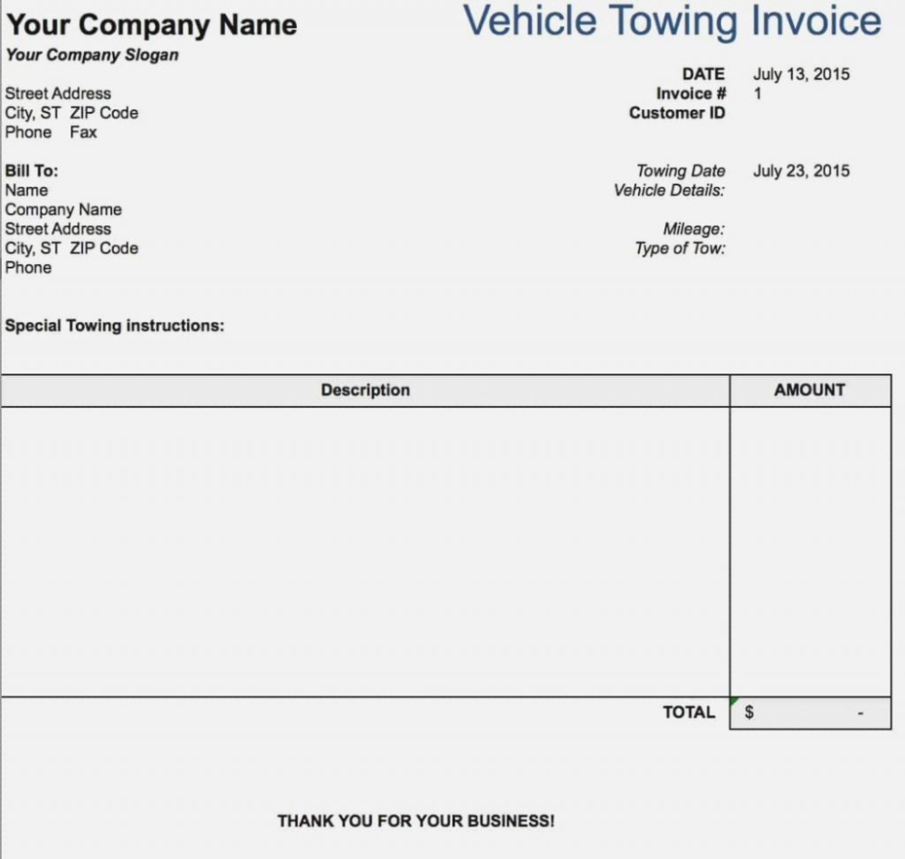Tow Truck Receipt Realty Executives Mi Invoice And Resume