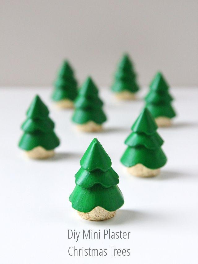 Diy Mini Plaster Christmas Tree Decorations