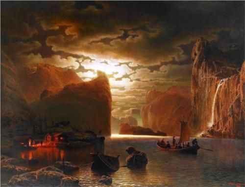 Marcus Larson「Fishing Near the Fjord by Moonlight」(1862)