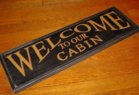 WELCOME TO OUR CABIN SIGN Rustic Primitive Lodge Wood Framed Log Home Decor NEW