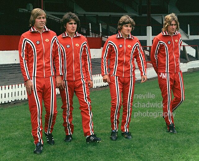 a0724b9bd Man Utd stars show off the new Admiral tracksuits in 1975.