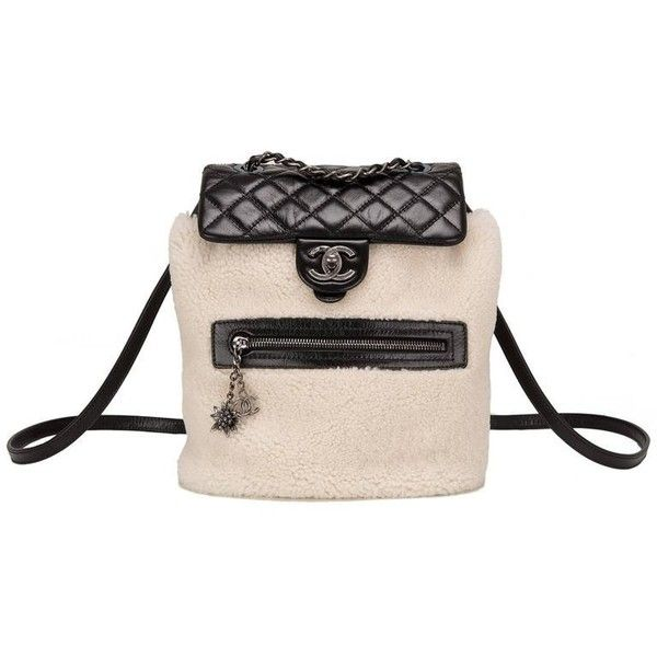 Chanel Limited Edition Black Calfskin And Shearling Large Backpack... ❤ liked on Polyvore featuring bags, backpacks, knapsack bag, calfskin bag, hardware bag, rucksack bags and quilted bags