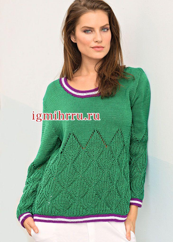 8c9f26909e65 Зеленый пуловер с выразительным узором из патентных резинок и ...