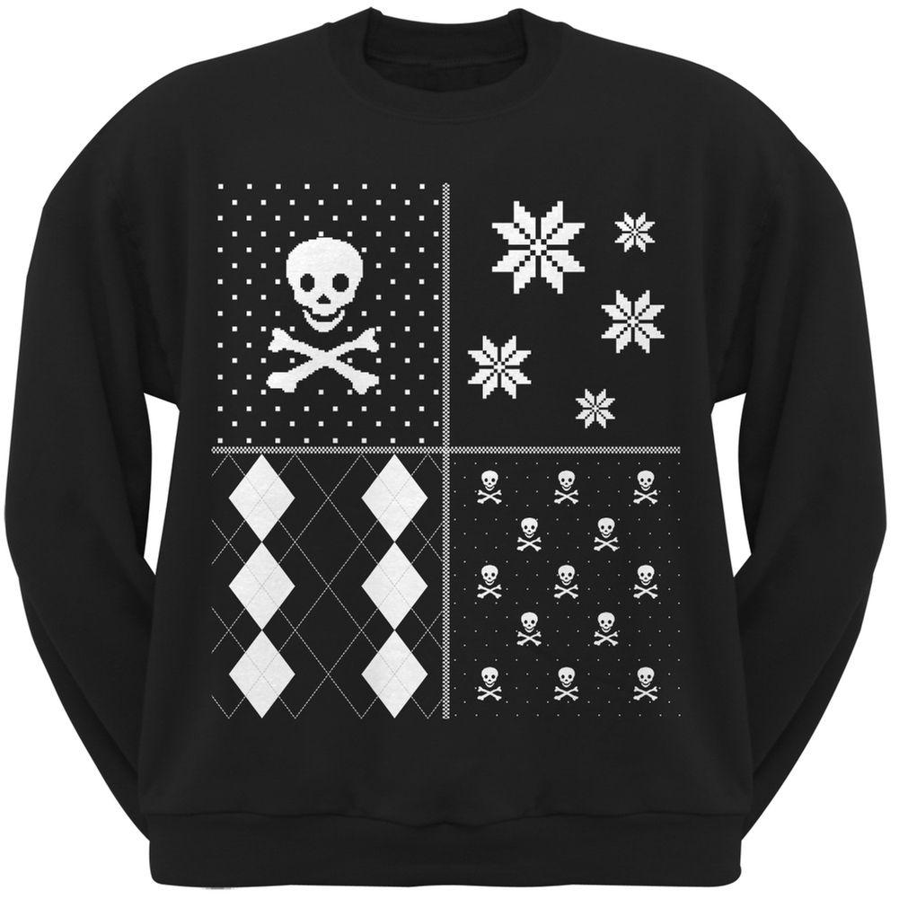 Skull and Crossbones Festive Blocks Ugly Christmas Sweater Black Crew Neck Sweatshirt | OldGlory.com
