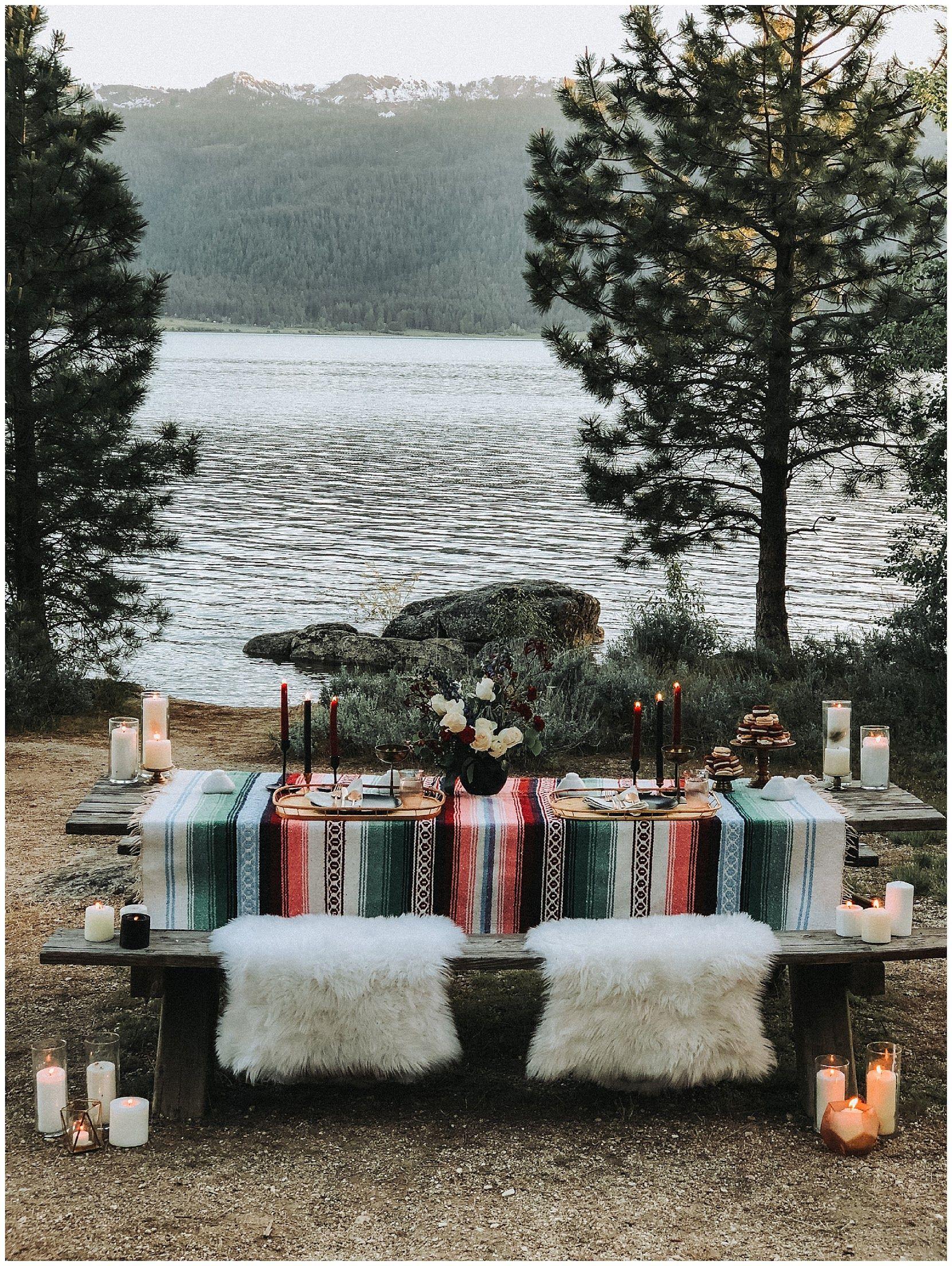 Moody boho tablescape at lake cascade idaho lake wedding