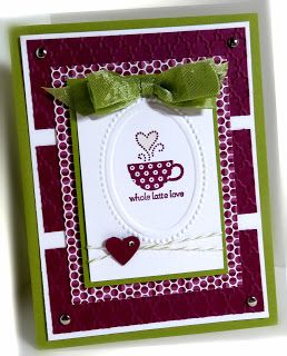 : Patterned Occasions Paper: Lucky Limeade, Rich Razzleberry, Sycamore Street DSP, Whisper White Ink: Rich Razzleberry Accessories: seam binding ribbon, brads, CE Tools: small heart punch, Big Shot, Fancy Folder EF, Designer Frames EF