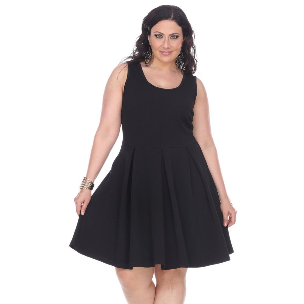 Plus Size White Mark Pleated Fit Amp Flare Dress Fit Flare