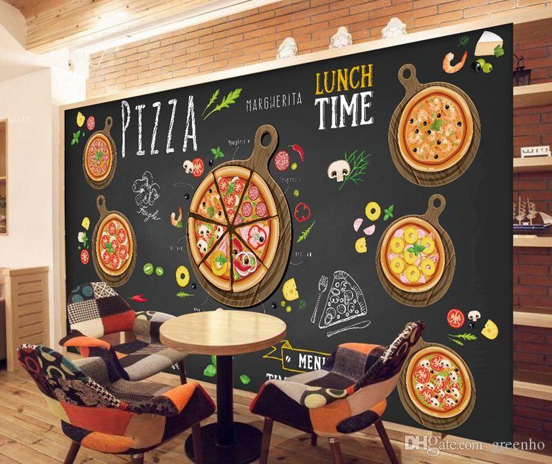 Best Custom 3D Wallpaper For Walls 3D Pizza Shop Wall Mural 640 x 480