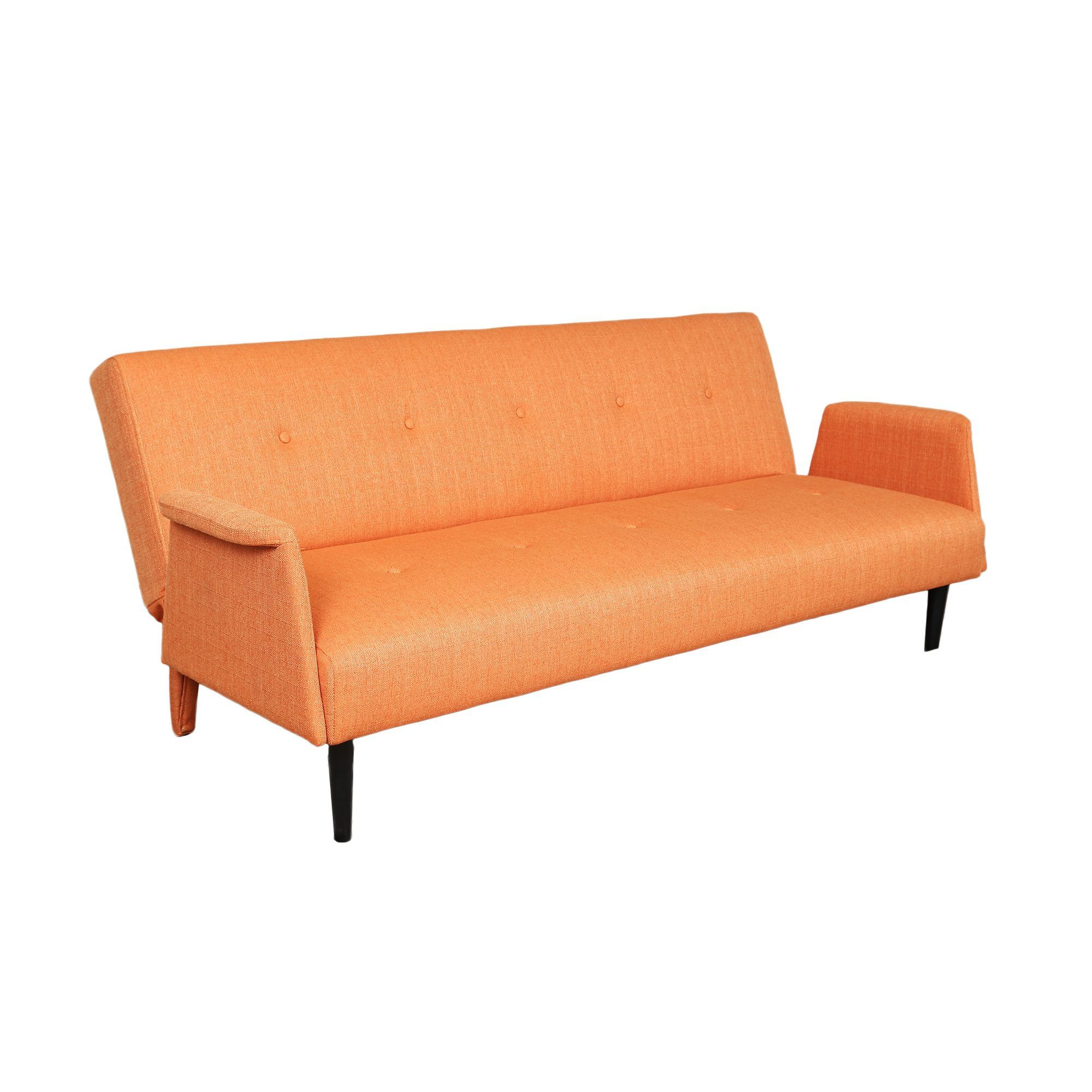 Porter International Designs Sitswell Naomi Orange Futon Sofa Sleeper Bed Black