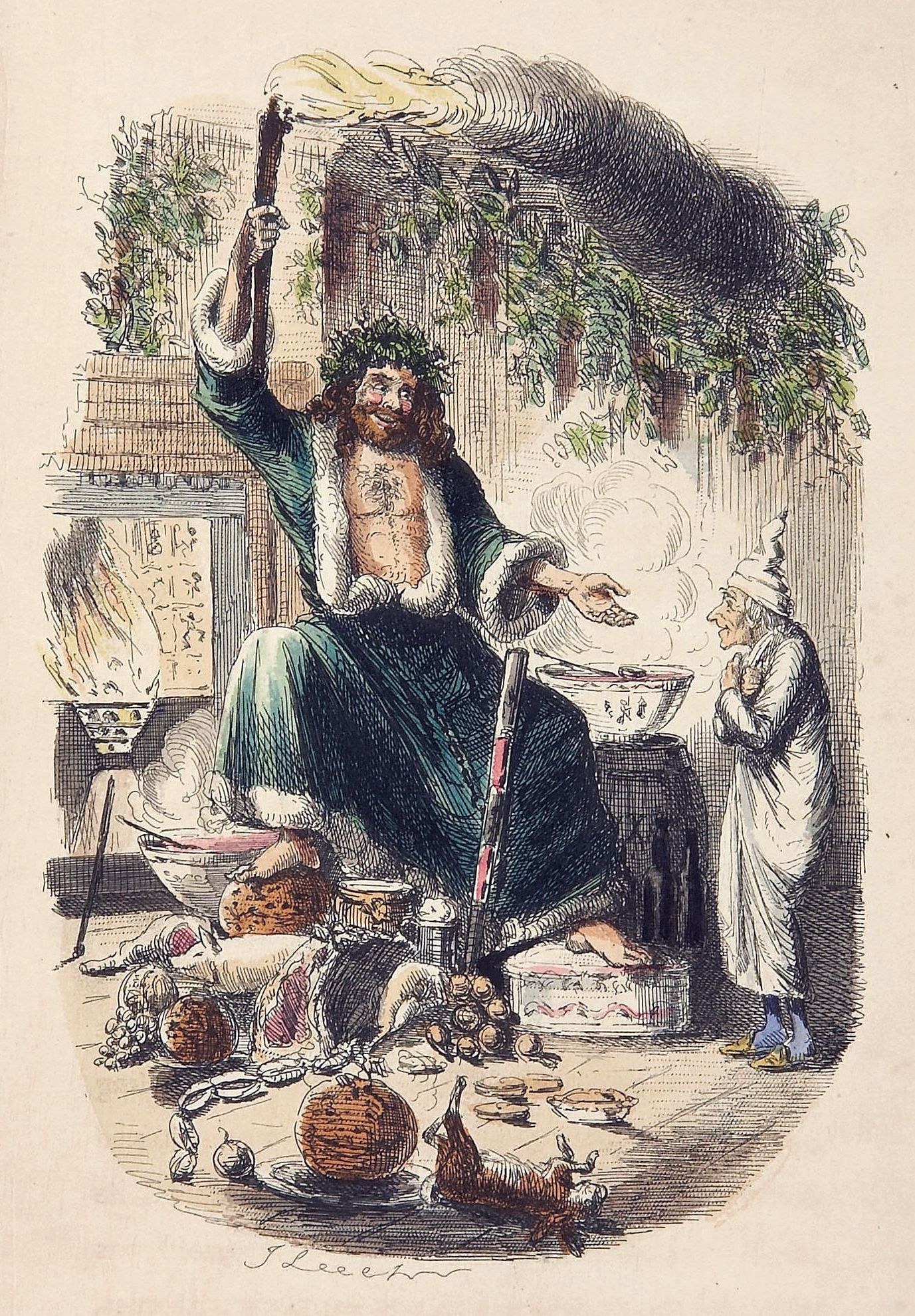 Ebenezer Scrooge and the Ghost of Christmas Present. From Charles Dickens' A Christmas Carol, 1843.