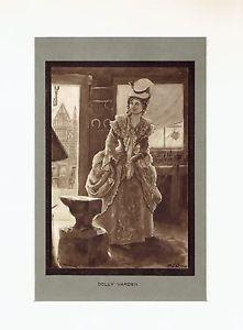 "Antique Print ""Dolly Varden"" (Dickens' Barnaby Rudge)"