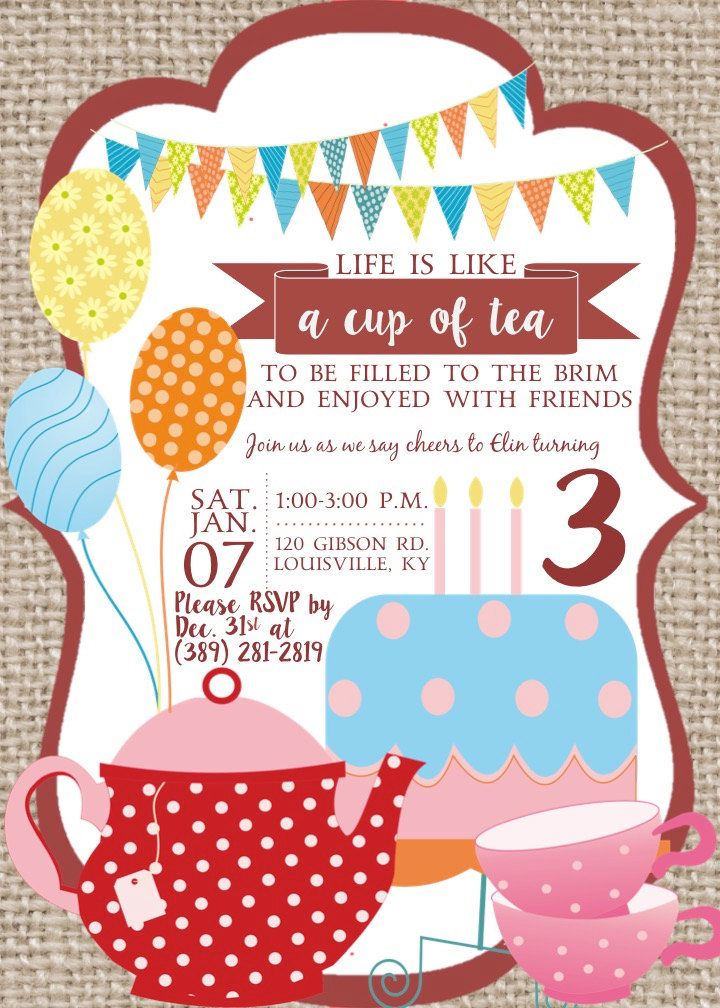 Tea Party Birthday Party Invitation by NOLALOULOU on Etsy