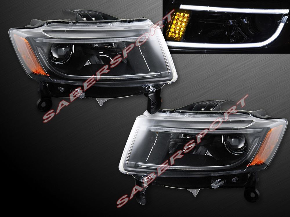 Pair Black Headlights W Led Strip Halogen Ver 2014 2016 Jeep Grand Cherokee Jeep Grand Cherokee Black Headlights Jeep