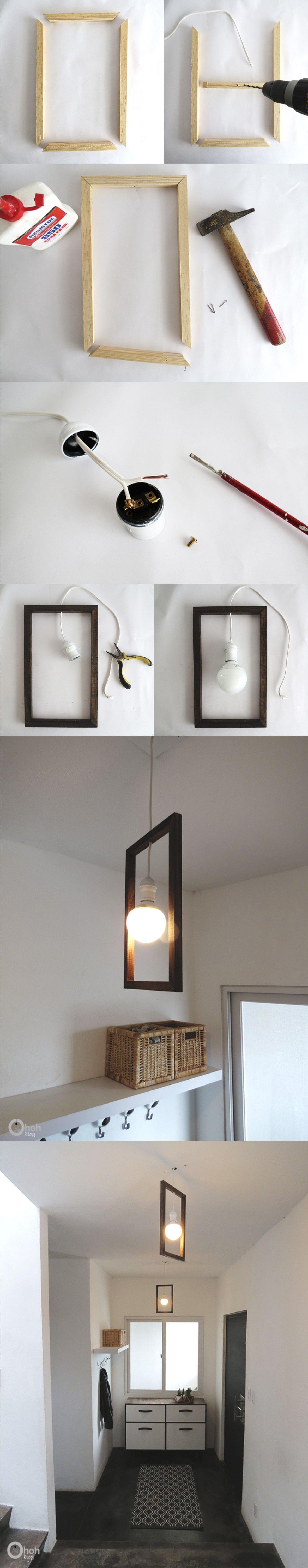 Lámpara DIY con un marco | Arte | Pinterest | marco DIY, lámparas ...