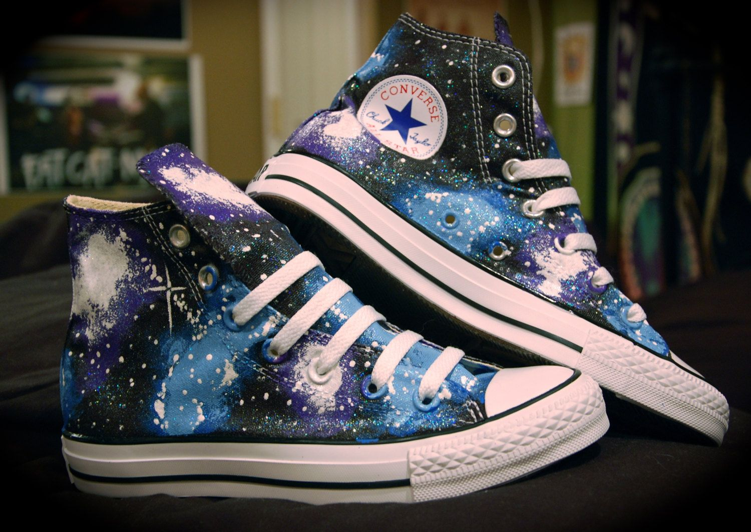 huge discount 797b2 7e2e7 Blue and Purple Galaxy Converse High Tops.  95.00, via Etsy.