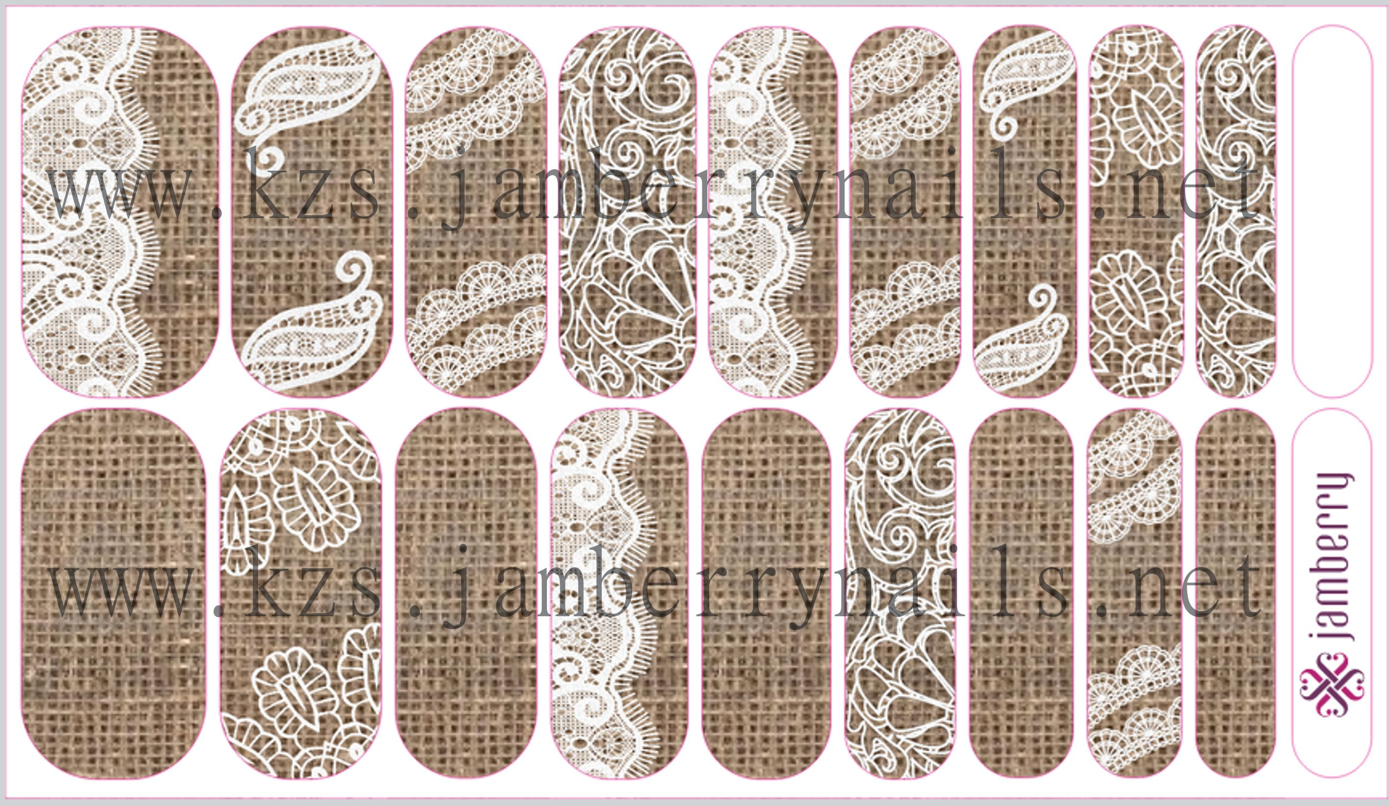 Burlap and Lace Jamberry nail wraps www.kzs,jamberrynails.net ...