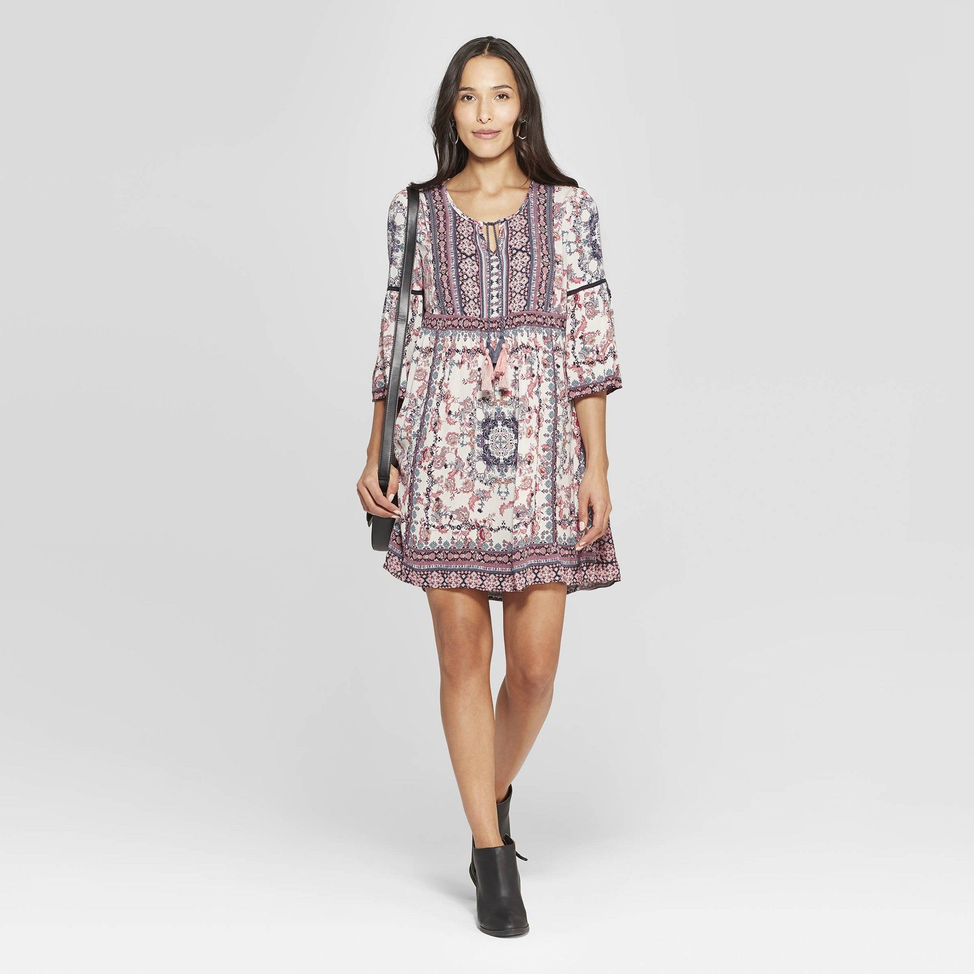 4df8e7968e Women s Floral Print 3 4 Sleeve V-Neck Shift Midi Dress - Knox Rose Ivory  Xxl