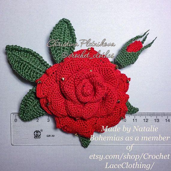 Rose BroochPin in MacrameHandmade