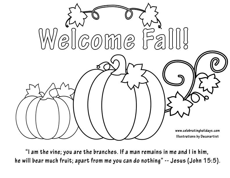 Welcome Fall Coloring Page With Bible Verse More Holiday Options