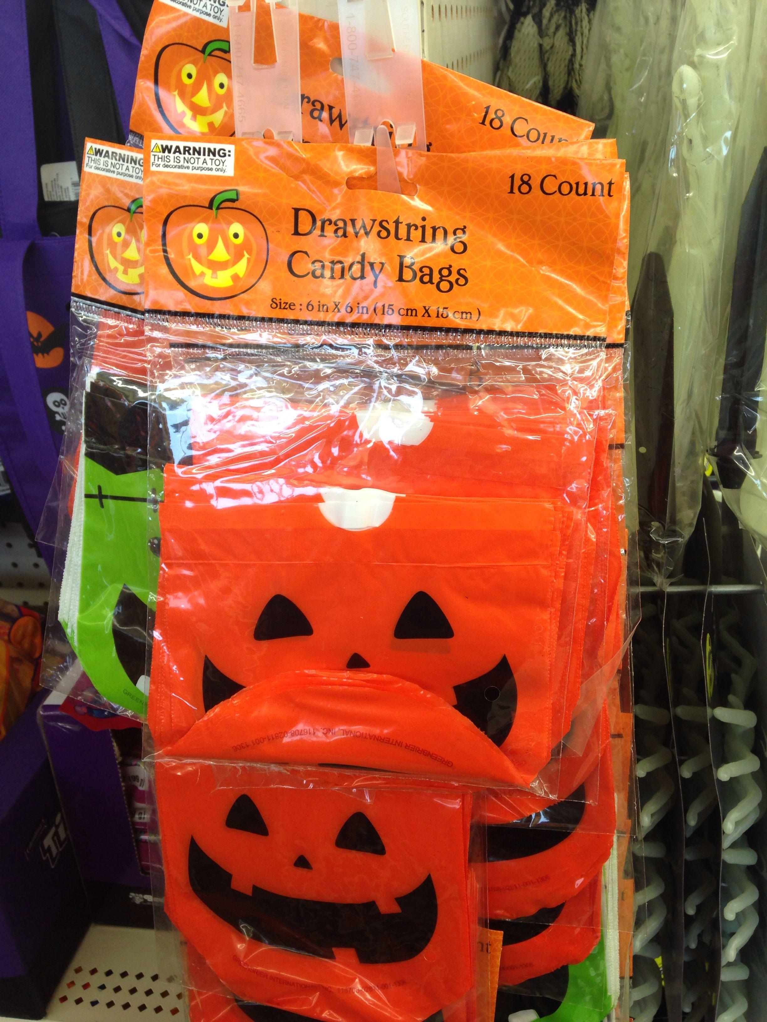 Halloween Drawstring Plastic Bags. Dollar Tree Candy