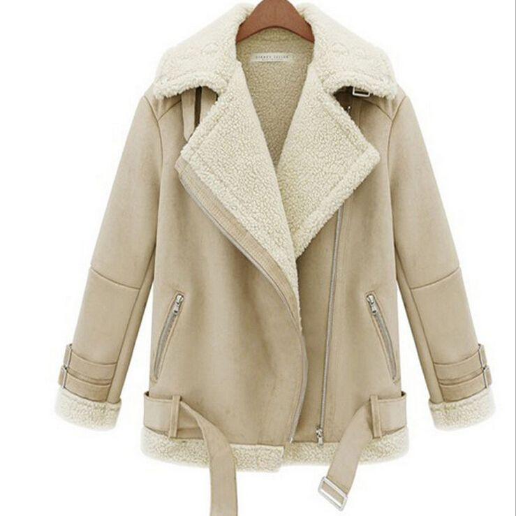 Women Winter Jacket Fashion Faux Sheepskin Shearling Coat Ladies ...