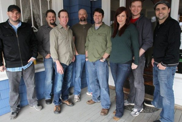 """Ghost Hunters. Grant's """"goodbye photo"""". His last show was May 16, 2012. Sad - he was my favorite. L-R: Steve, Britt, KJ, Jason, Grant, Amy, Adam, and Dave."""