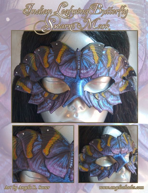Painted hand tooled leather. on Angelic Shades - The Art of Angela R. Sasser  http://www.angelicshades.com/wp-content/gallery/best-of-artisan-crafts/mask-indian-leafwing-swarm.jpg