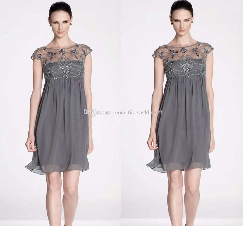 2015 Short Mother Of The Bride Dresses Short Sleeves Beaded ...
