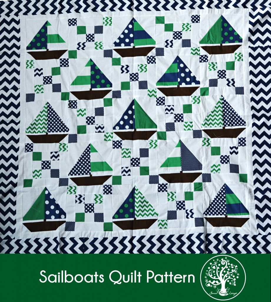 Free baby bed quilt patterns - Sailboats Quilt Tutorial Irish Chain And Sailboat Blocks Free Pattern Sunset Family Living