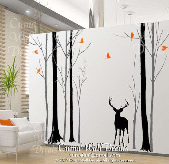 Custom OrderTree Wall Decal Nursery Birds Wall Sticke By Cuma - Custom vinyl wall decals deer