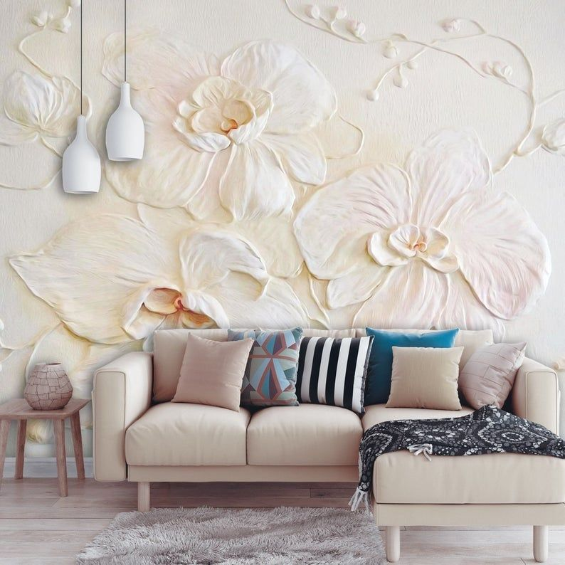 Removable Wallpaper 3d Floral Peel And Stick Wall Mural For Etsy Wall Murals Bedroom Wall Murals Removable Wallpaper