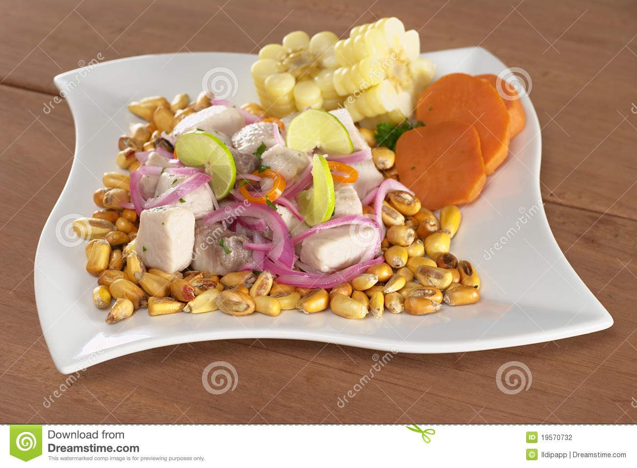 """Ceviche is one of the most traditional and most representative dishes of Peru.  Preparared with fresh fish, limes, onions, spicy peppers, and fresh cilantro. Cebiche, usually consists of seafood that is marinated with lime juice, the acidity of the lime juice actually """"cooks"""" the seafood."""