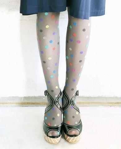 8a7dbd4be97 multi-colored polka dot tights