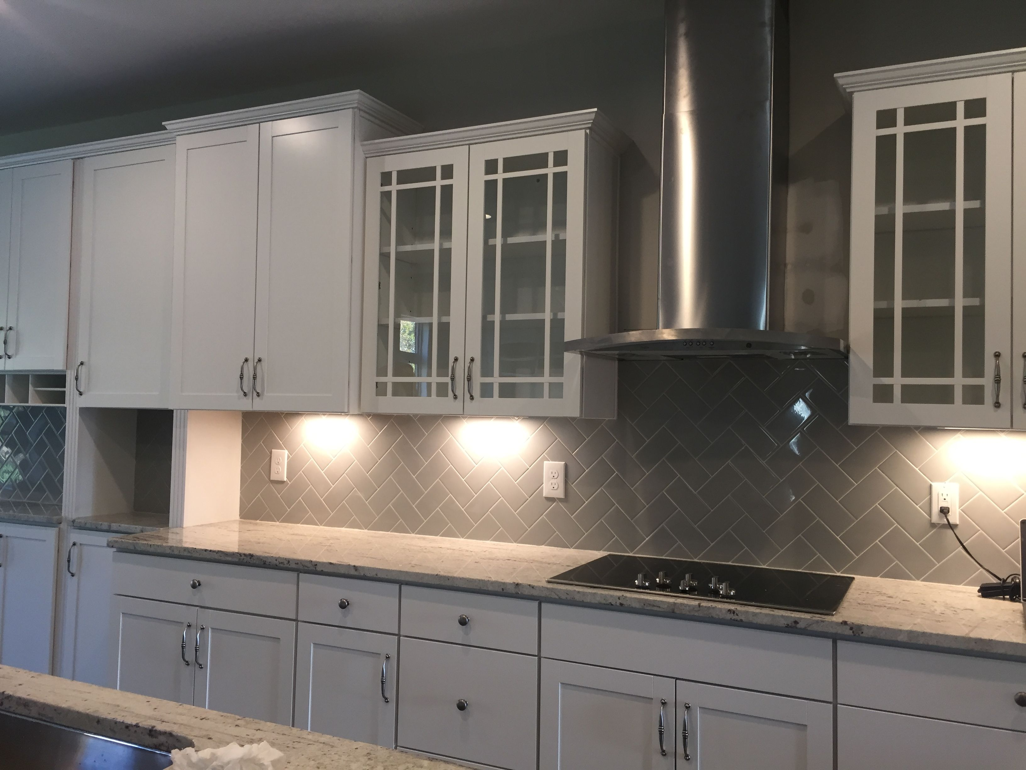 Best Brellin White Cabinets Added Glass Cabinets River White 400 x 300