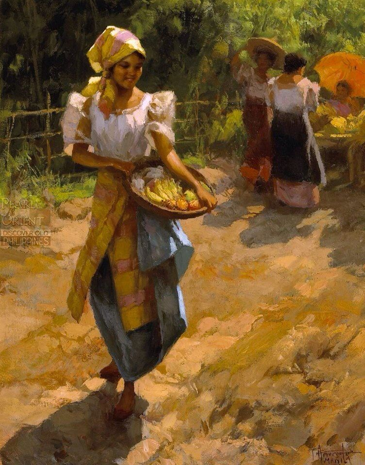 A young girl with Fruit Fernando Amorsolo Paintings