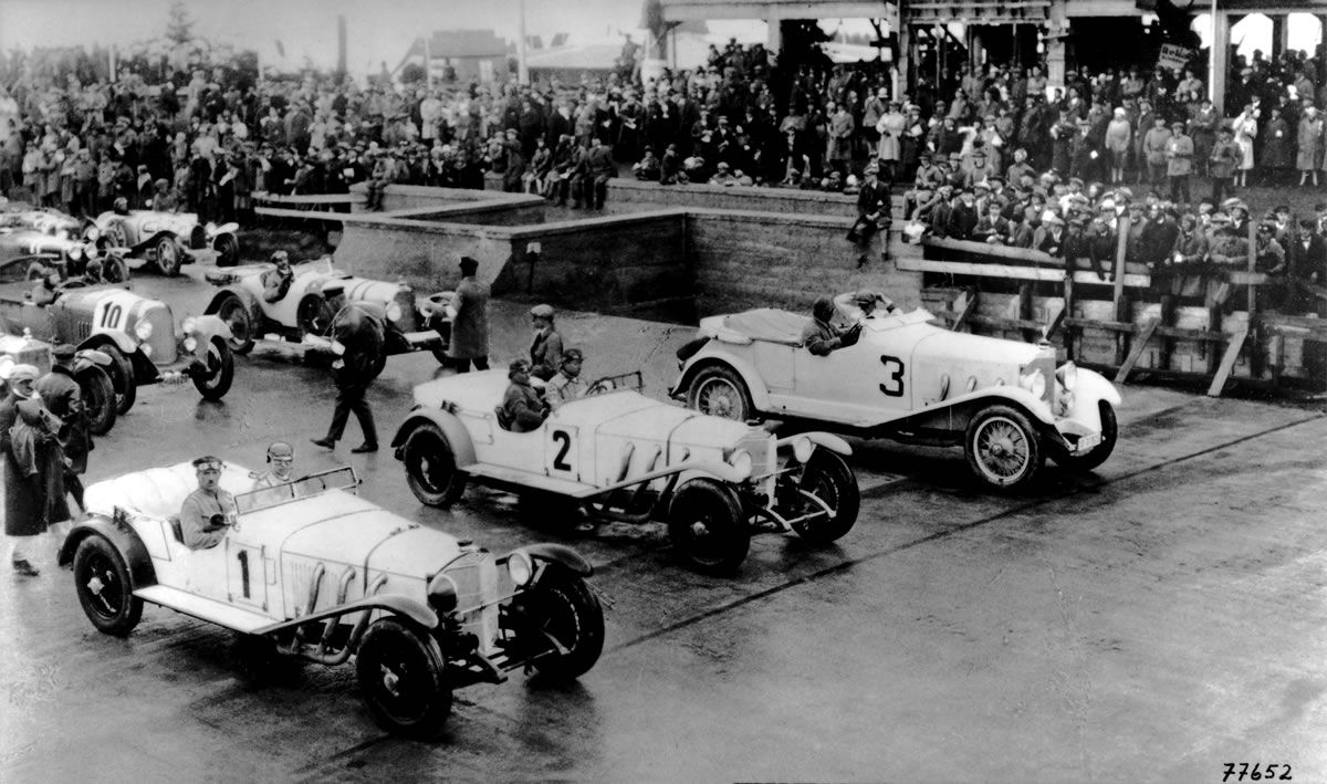 First car race held on the Nürburgring in 1927. Winner was Rudolf ...