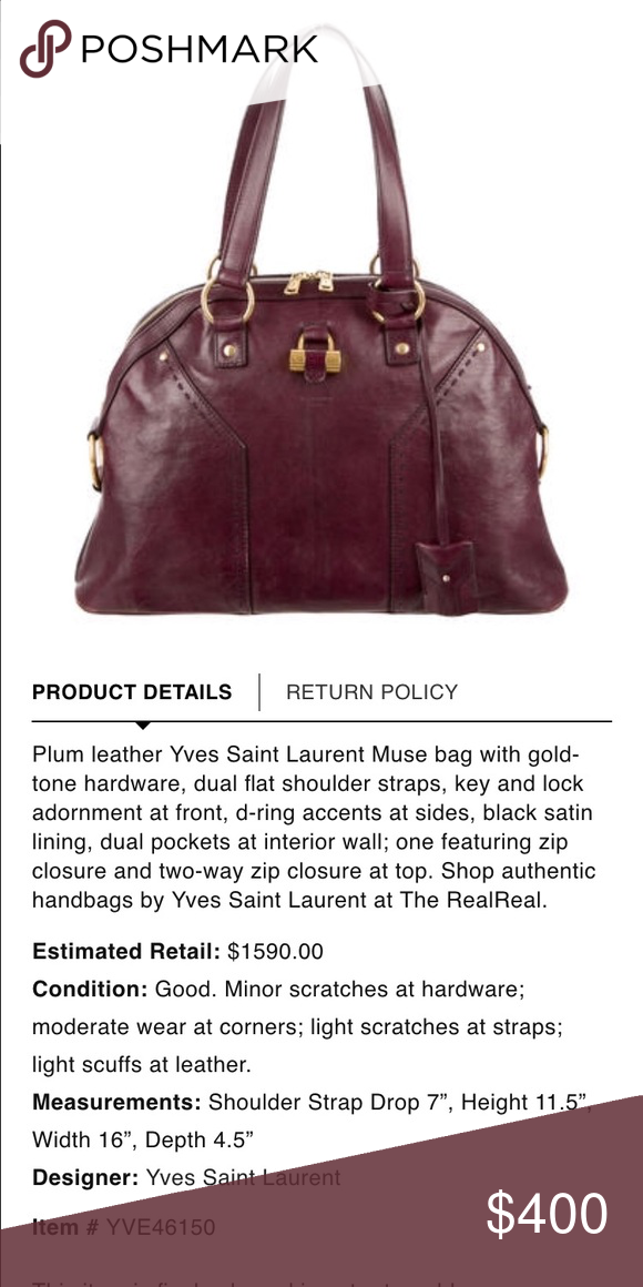 Authentic YSL Muse Bag in Plum Authentic YSL Muse Bag in Plum. In  good loved condition. Yves Saint Laurent Bags e1f6f83b802af