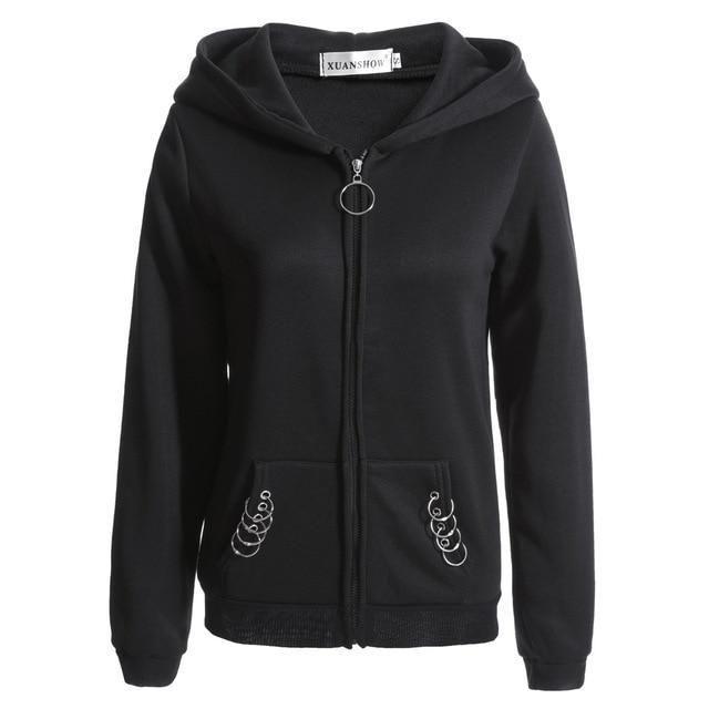 0d7812ce6b2 Women Hoodies Long Gothic Punk Iron Rings Black Loose Hood Jacketuotelab