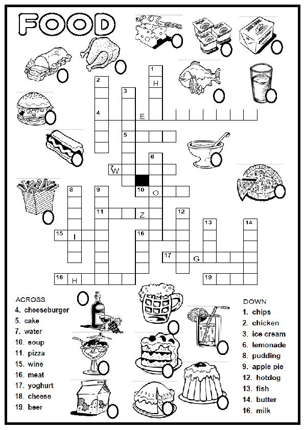 Food Picture Crossword Vocabulary Ingl 233 S Primaria