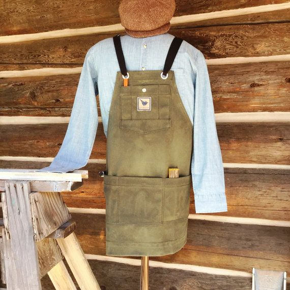 Waxed Filter Twill Canvas Woodshop Apron With Adjustable Crossed