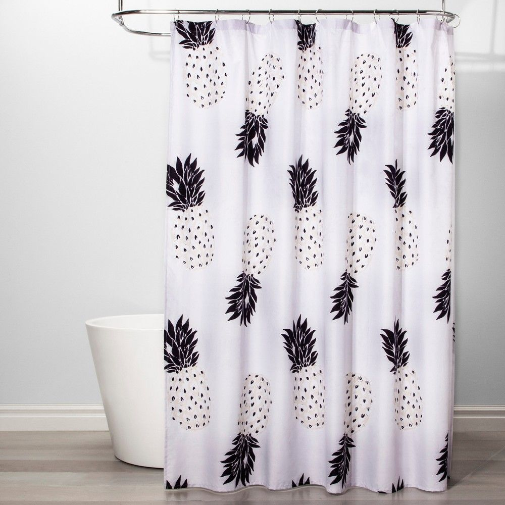 Pineapple Shower Curtain Black White Room Essentials Pineapple