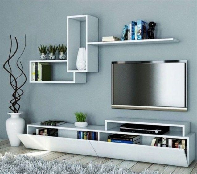 37 Wall Tv Place Ideas By Using Pallets As Material For Making It Homiku Com Floating Shelves Living Room Living Room Tv Wall Living Room Tv Unit Designs