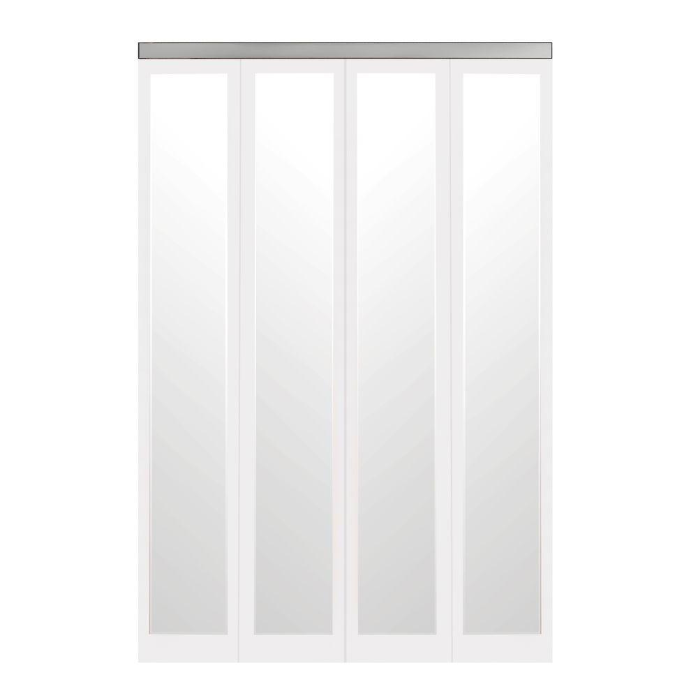 Impact Plus 60 In X 80 In Mir Mel White Mirror Solid Core Mdf Full Lite Interior Closet Wood Bi Fold Door With Chrome Trim Bmmw344 6080c Mirror Closet Doors White Mirror Closet Doors