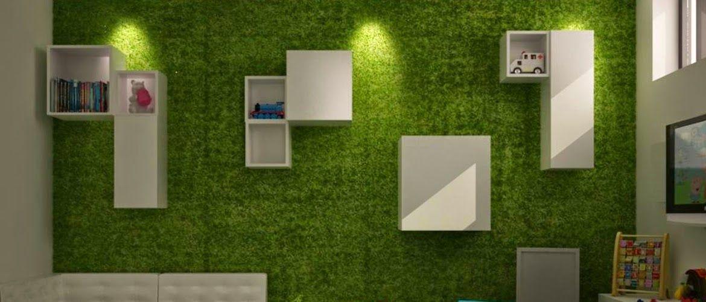 Pared forrada con c sped artificial en dormitorio for Decoracion con cesped artificial