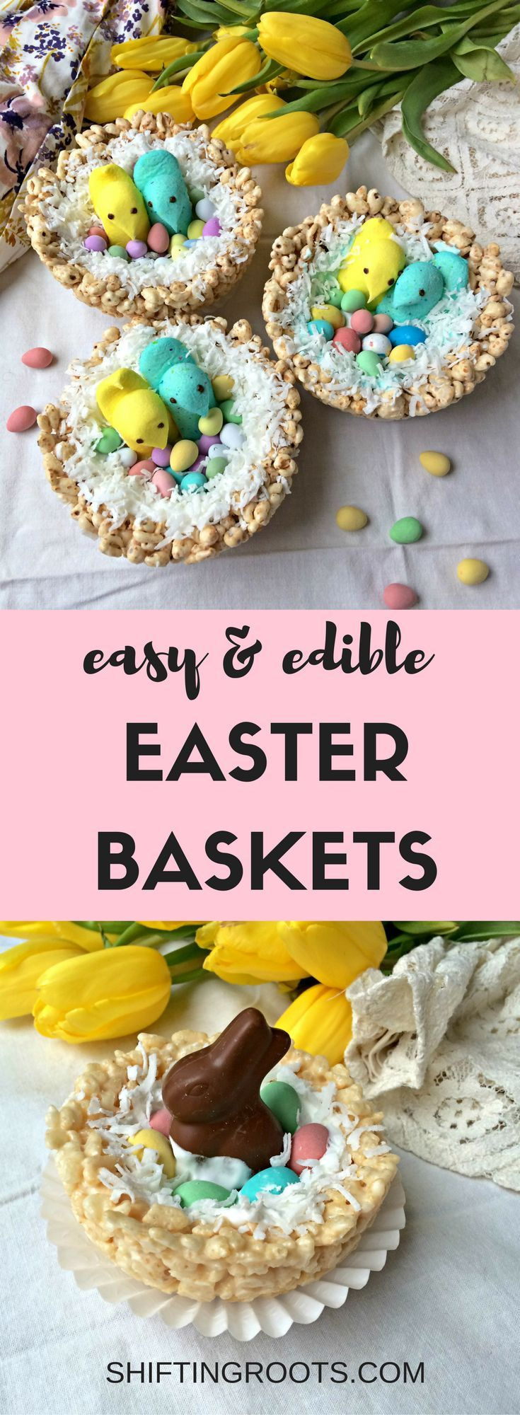 Check out this creative DIY Easter basket tutorial--everything is completely edible! Make the nest from Rice Krispies or puffed wheat,