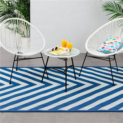 Captivating Acapulco Setting And Outdoor Rug   Chevron Print, Blue | Kmart