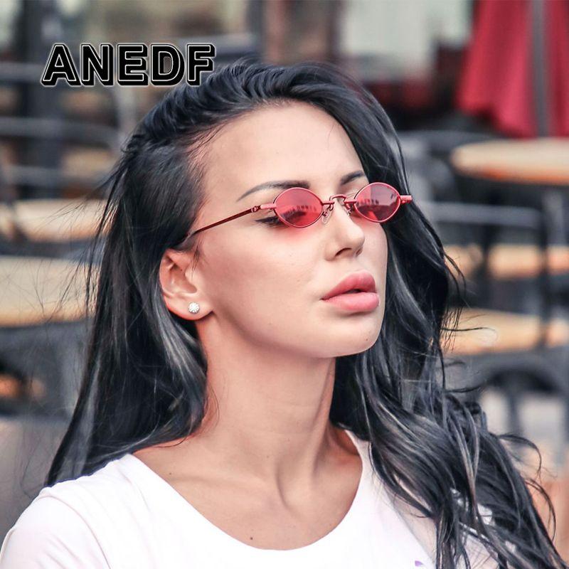 cd2861fb6492 ANEDF Luxury Vintage Oval Sunglasses Women Brand Designer Sun Glasses Retro  Small Red Ladies Sunglasses VU400 Eyewear Oculos